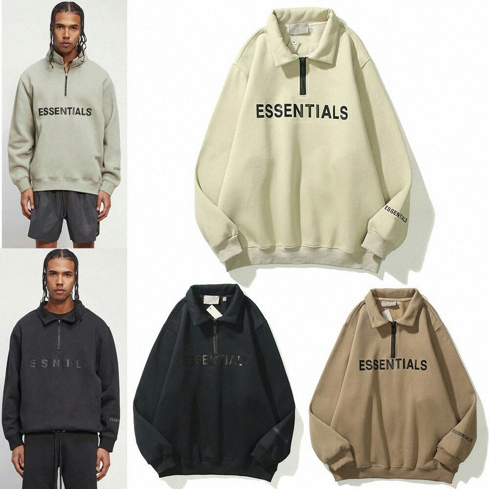 2021 Peur de Dieu FOG Essentials Half-Zip Stand Sweatshirts Hommes Femmes Sweat à capuche Essential Pull Crewneck Streetwear K1PH #