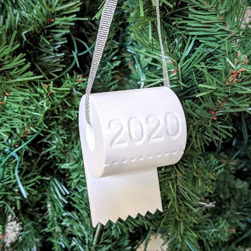 Decoraciones navideñas 3 / 2pcs 2021 adornos creativos papel higiénico DIY árbol colgante colgante personalizado decoración para el hogar regalos