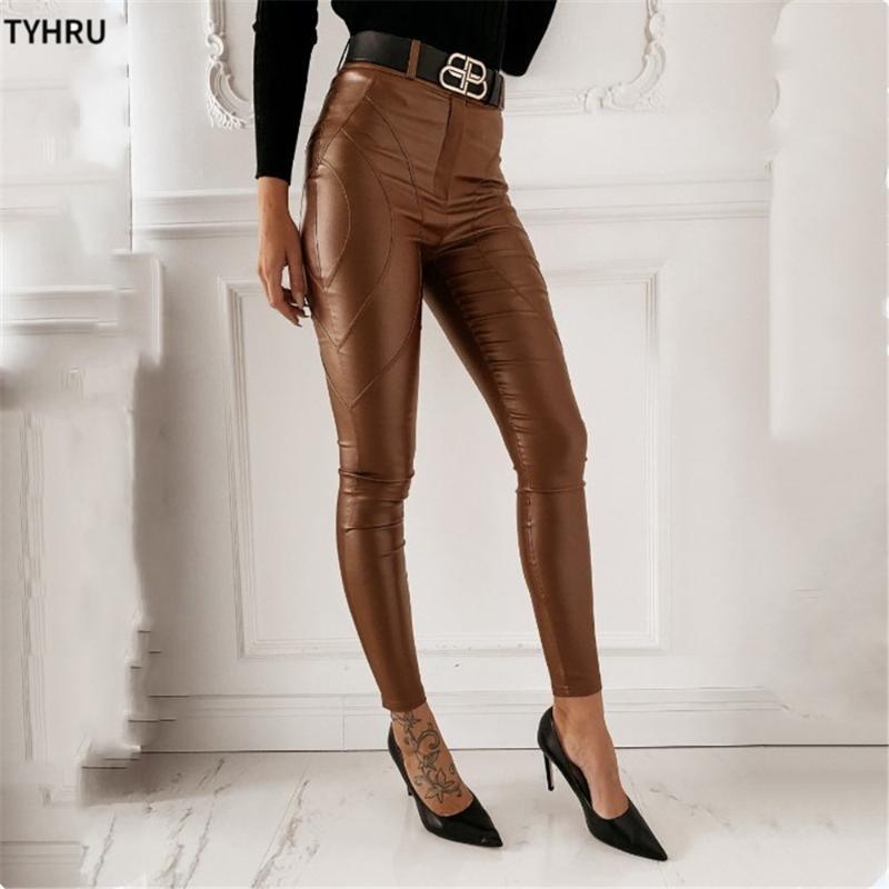 Calças femininas Capris Tyhru Skinny Couro Sólido Calças Casuais Cintura Alta Cintura Apertado Outono Selvagem Escritório Senhora Elástico