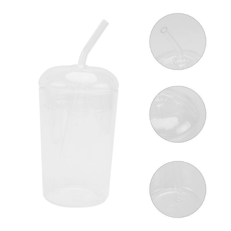 أكواب 1PC كأس الزجاج مع غطاء جميل سيبي الكلاسيكية الجميلة (شفافة)