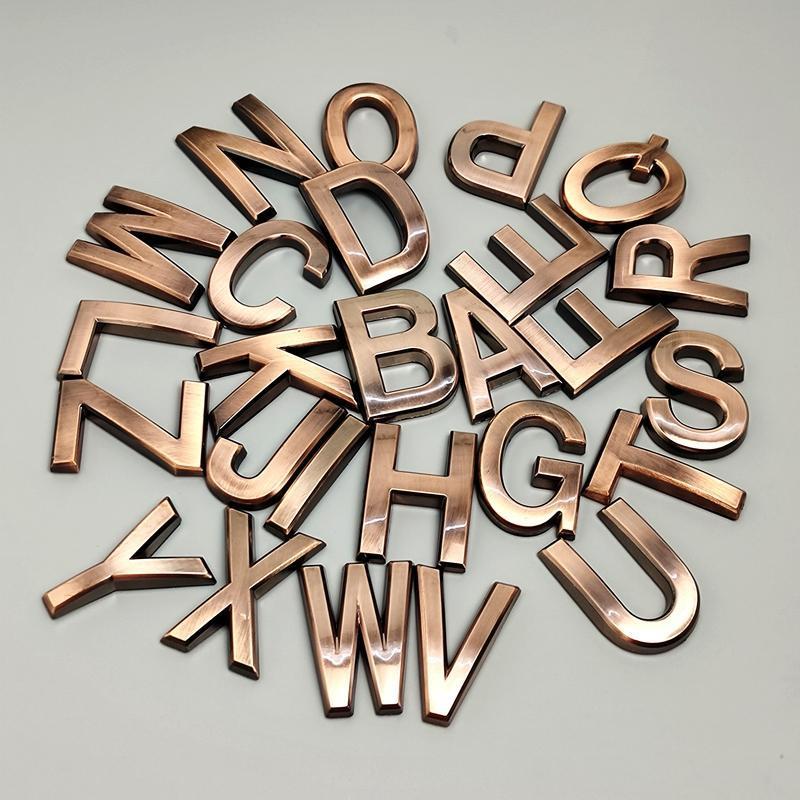 5cm A-Z 알파벳 현대 집 번호 편지 스티커 3D EL 아파트 도어 플라스틱 레드 구리 청동 이름 판금 다른 하드웨어