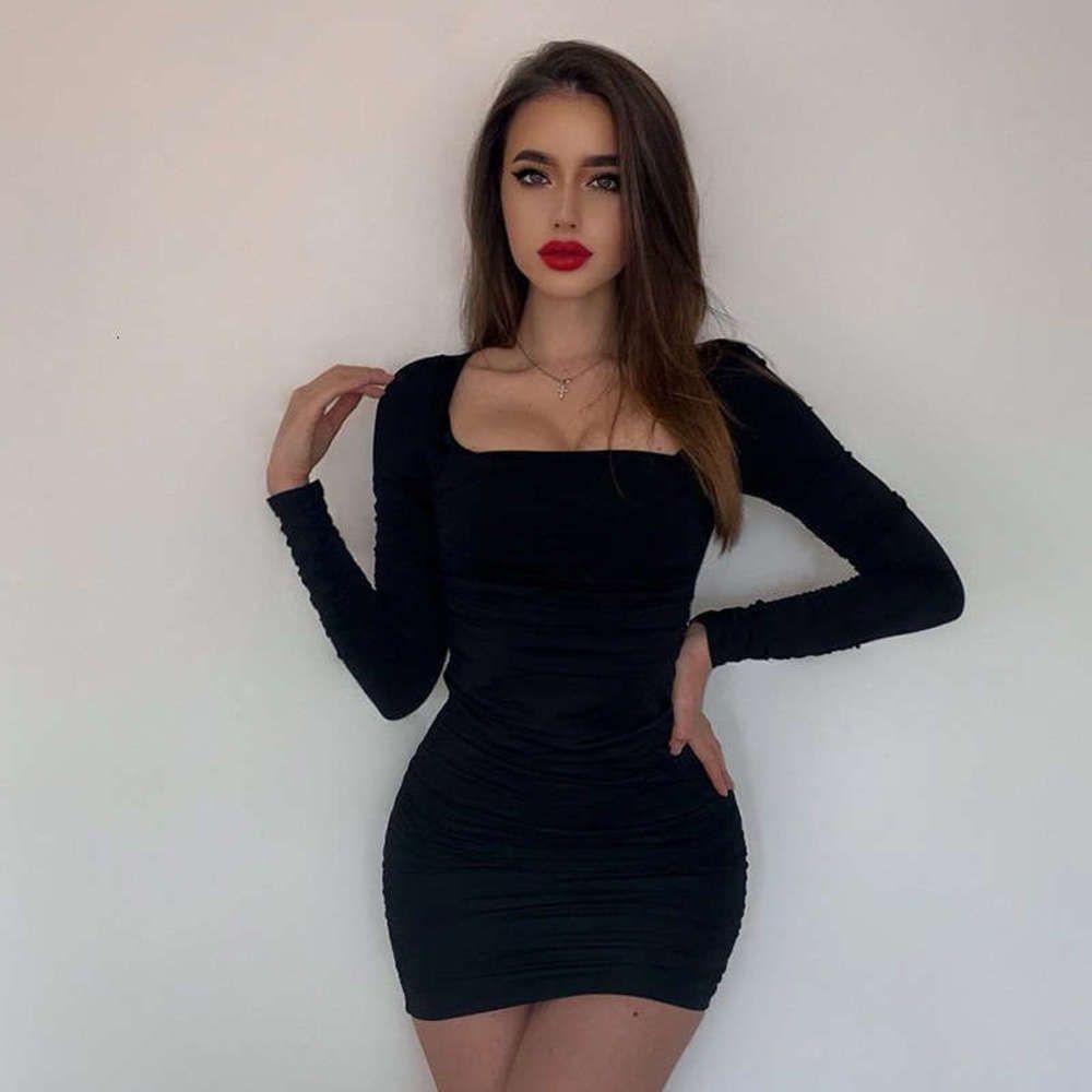 Elbiseler Rahat Siyah Elbise kadın Tarzı Kare Boyun Aç Geri Bandaj Seksi Sıkı Wrap Kalça A-Line Kısa Etek
