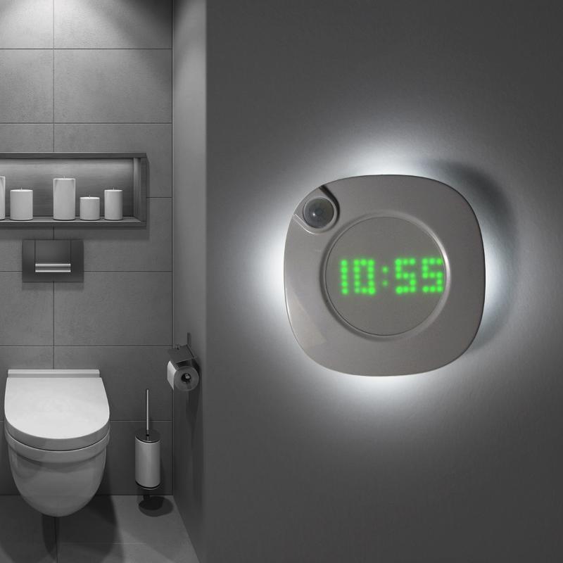 모션 센서 벽 램프 자석 실내 홈 홈 욕실 침실 복도 장식 시간 시계와 밤 빛