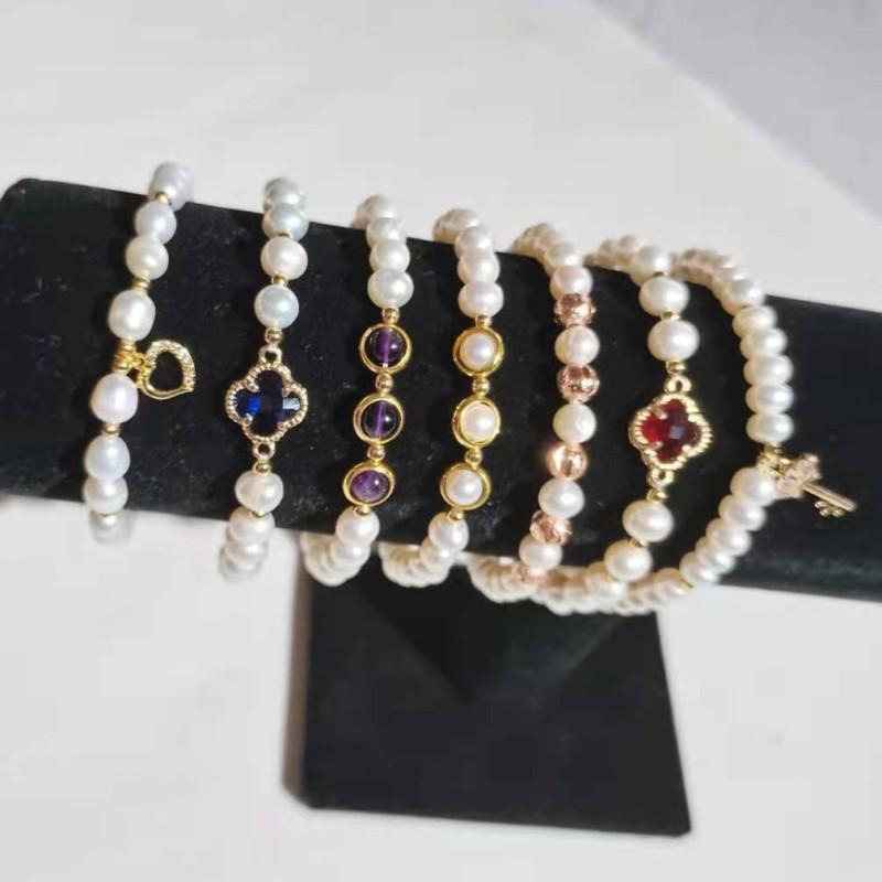 Women's Fashion Charm Bracelet Natural Freshwater Pearl Beads With Gemstone Pendant Jewelry Bangle Bracelets Girl's Gift
