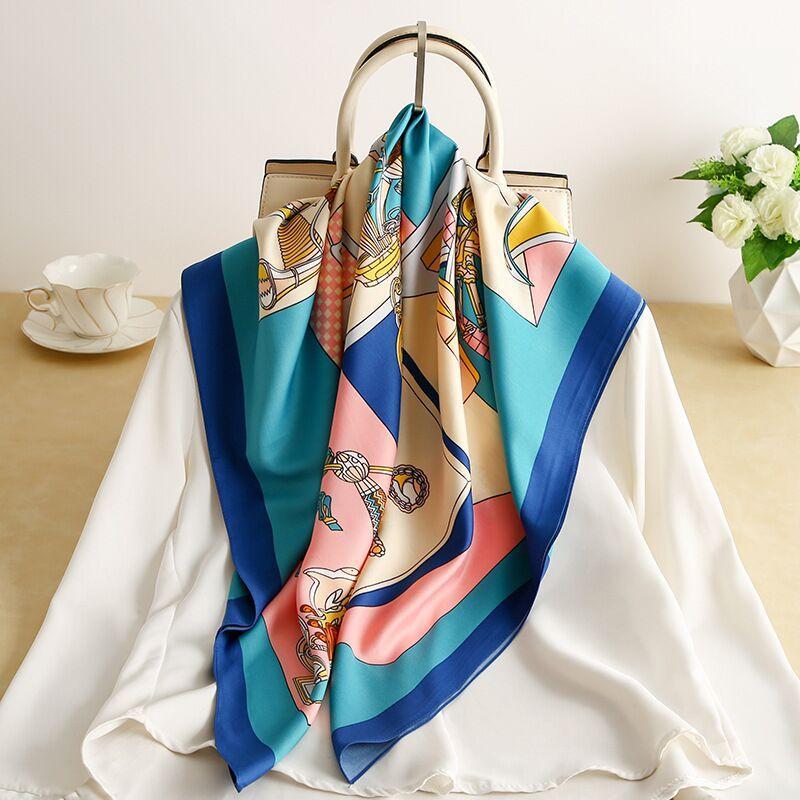 Роскошный ремень ручной сумка шарфы женщины имитируют шелковые волосы шарф шершки шершечный шелковый шержевый шелковый шелковистый цветок печати полоса ручка сумка ленты длинные шарфы