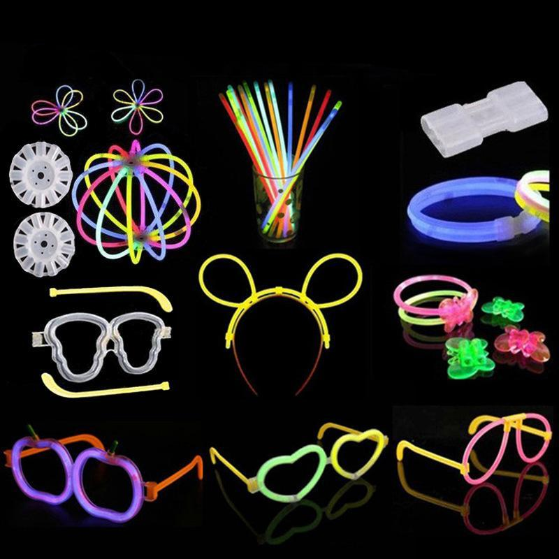 Colorful LED Glow Stick Safe Light Stick Luminous Toy Necklace Bracelets Fluorescent Event Festive Party Supplies Concert Decor Kids Game