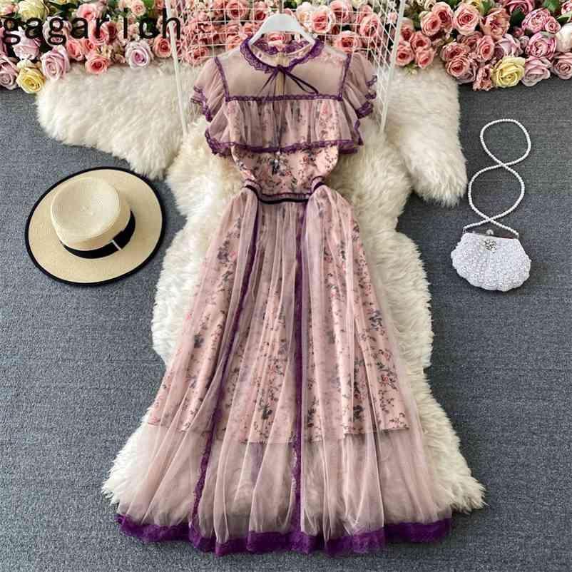 Gagarich mulheres vestido verão francês palácio estilo senhoras vintage temperamento temperamento gravata gola plissado malha vestido 210409