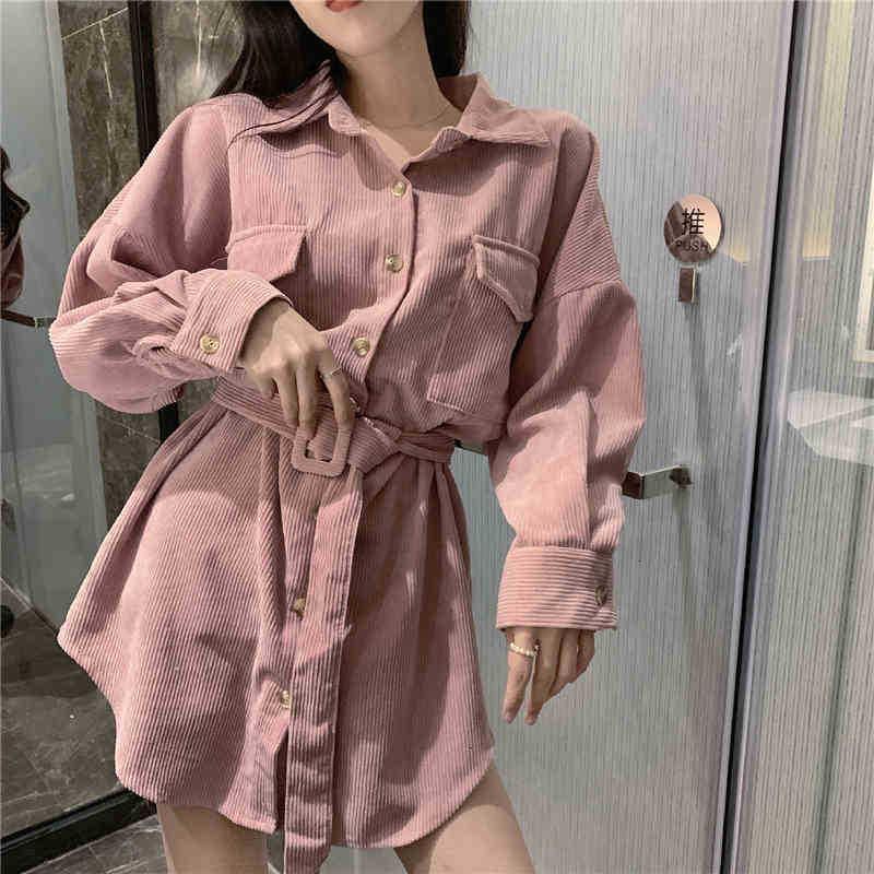 Frauen Blusen Hemden Frühling Koreaner Umdrehende Kragen Langarm Taille Casual Top Für Frauen Corduroy High Street Mantel Ladi L0cx