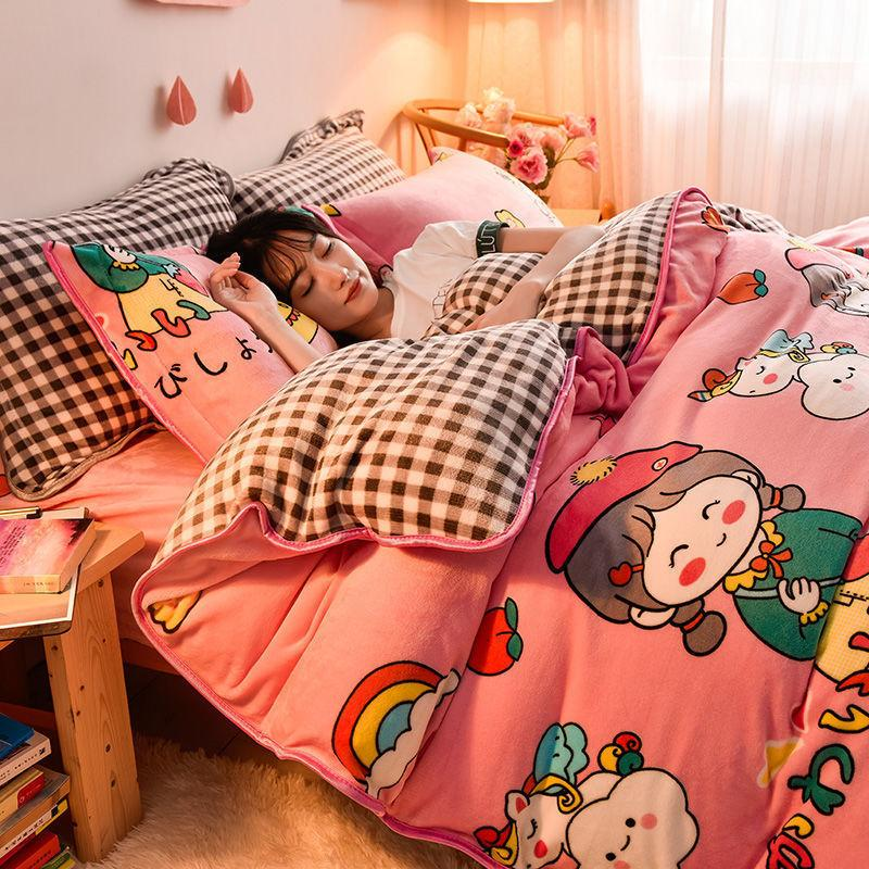 Korean Version. Thickened Coral 4-piece Milk 3-piece Double-sided Crystal Flannel Bed