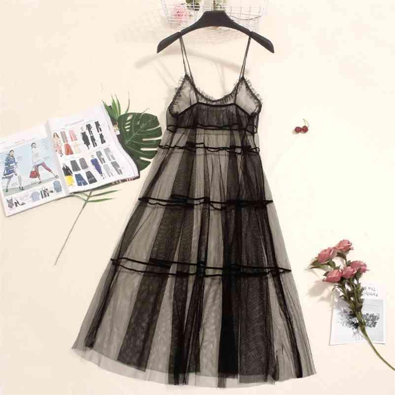 Otoño Largo Vestido de verano Mujer vestido de malla Sexy Encaje Spaghetti Correa Vestidos Damas Maxi Gauze Vestido Sundress Vestidos A1024 210409