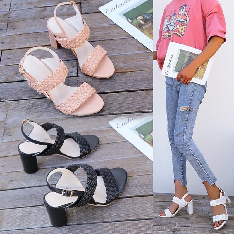 Kesme Dokuma Açık Toe Roma Sandalet Kadınlar Toka Dar Bant Seksi Gladyatör Kalın Yüksek Topuklu Sandalias Aşırı 34-44 Elbise Ayakkabı