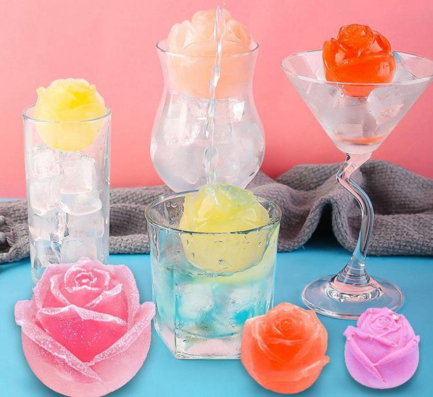3D Rose Form Silikon Seife Kerzenformen Werkzeuge Ice Cube Tablett DIY Haushalt Icemaker Whisky Wein Dekoration Zubehör LLF6238