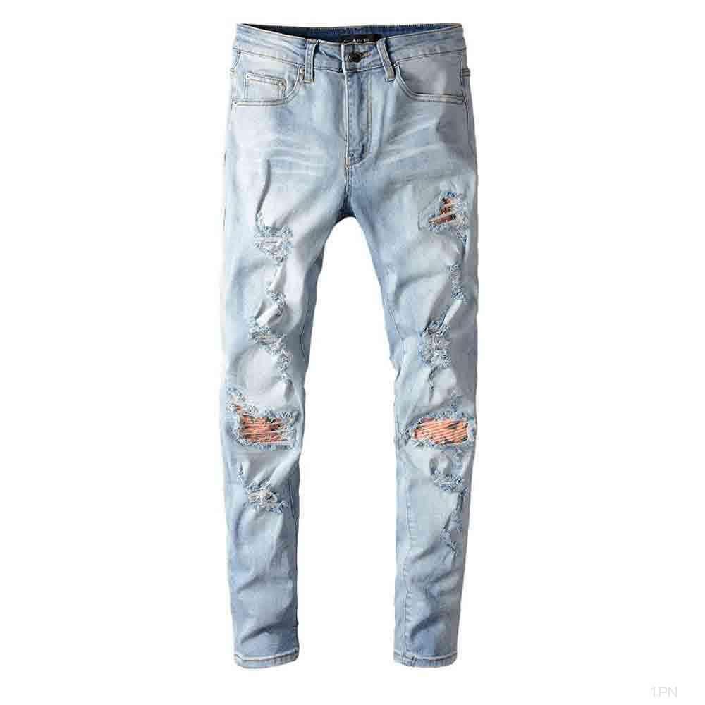 Jean Lyp Men ami Miedo a Dios Mens Stylist Jeans Off Skinny Ripped Destruido Streted Slim Fit Mannen Pantalones Blanco Modelo 1P