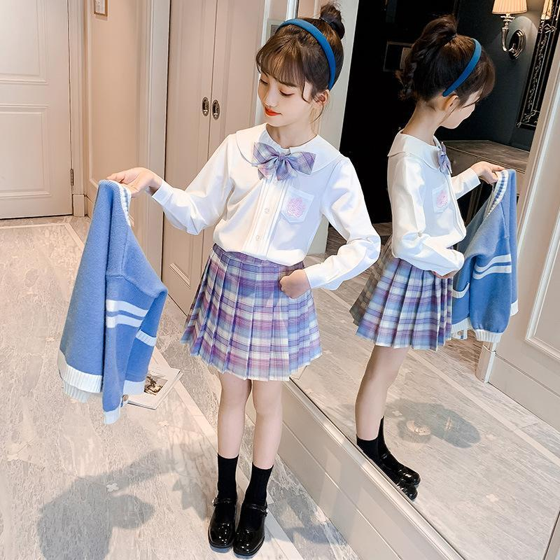 Clothing Sets Children Skirt And Top Set Spring Kids Long Sleeve Shirt+Sweater Coat+Plaid Skirts Girls Outfits Preppy Style Girl Students Su