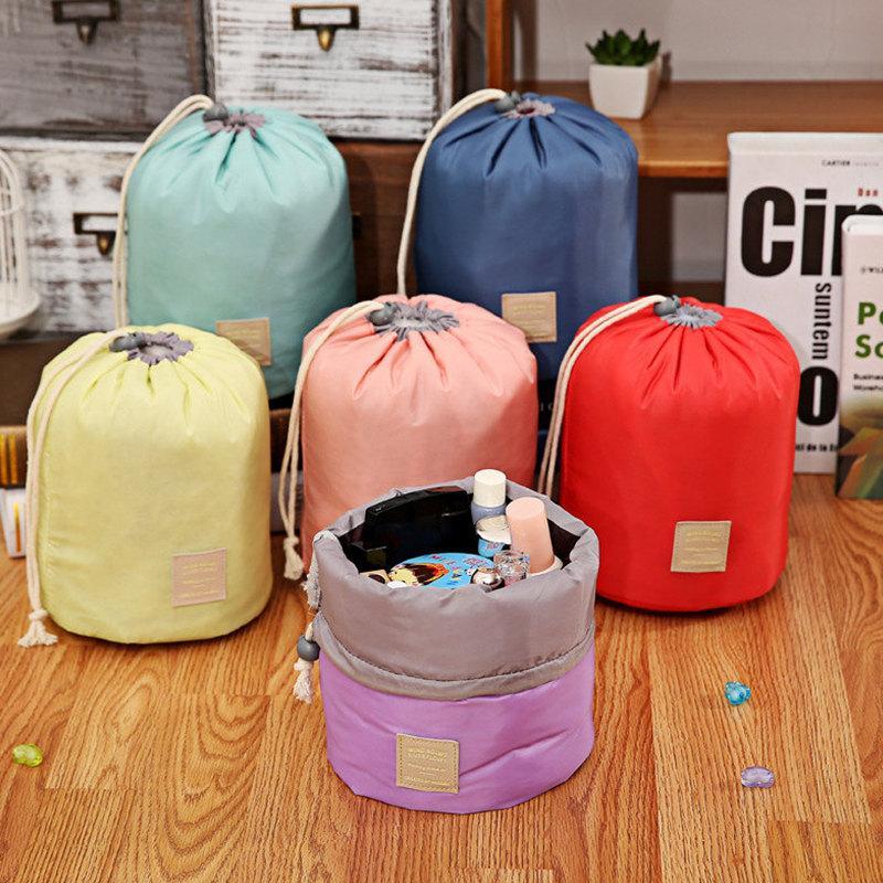 Korean Barrel Shaped Cosmetic Makeup Bags Handbag Elegant Nylon Drum Wash Bag Large Capacity Make Up Organizer Women Storage Pouch Bags 2021