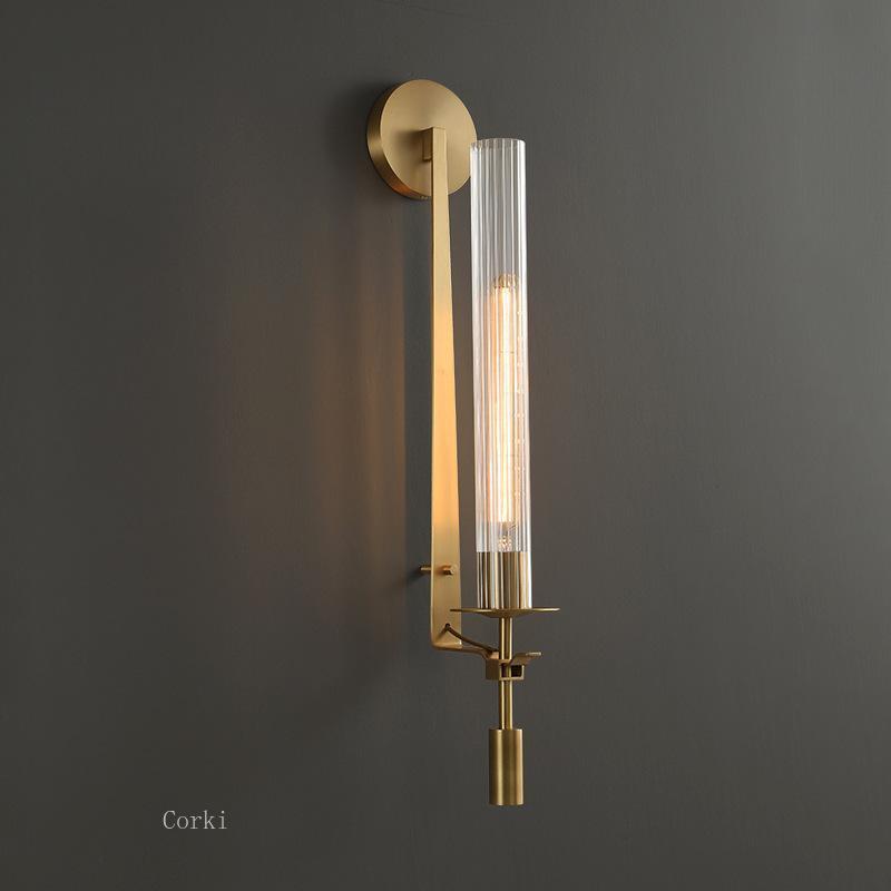 미국 국가 레트로 황동 LED 벽 램프 거실 로비 엘 침실 침대 옆 옆의 계단 표면 마운트 조명 조명기