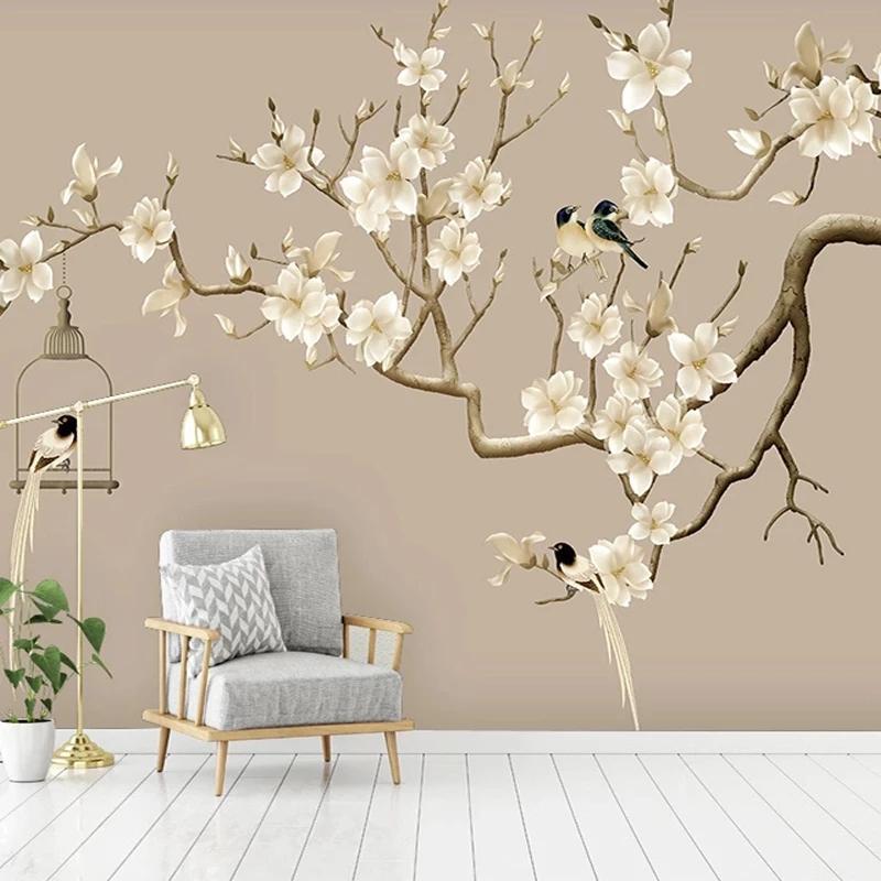 PO Kendinden Yapışkanlı Duvar Kağıdı Çin Tarzı El-Boyalı Çiçek Kuş Şekil Manolya Resimleri Oturma Odası Çalışma Dekor Duvar Duvar Kağıtları