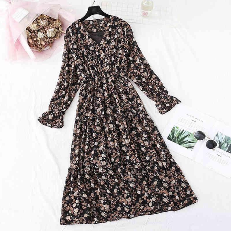 robes femmes imprimer mousseline printemps été été vintage féminin casual flare floral es à la taille élastique à volant long