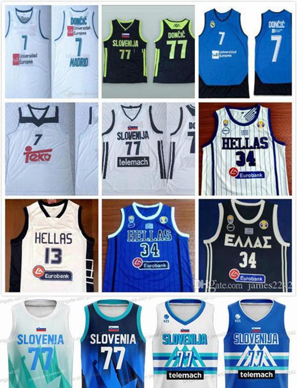 Slovénie Basketball 77 Doncic N ° 7 Luka Slovenja Real Madrid Eurolue Giannis G. Antetokounmpo # 34 Grèce National Hellas Jerseys