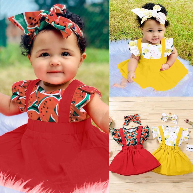 태어난 된 아기 의류 세트 소녀 슬리브 꽃 인쇄 탑 + 단단한 서스펜 스커트 여름 보그 옷 ROPA 세트