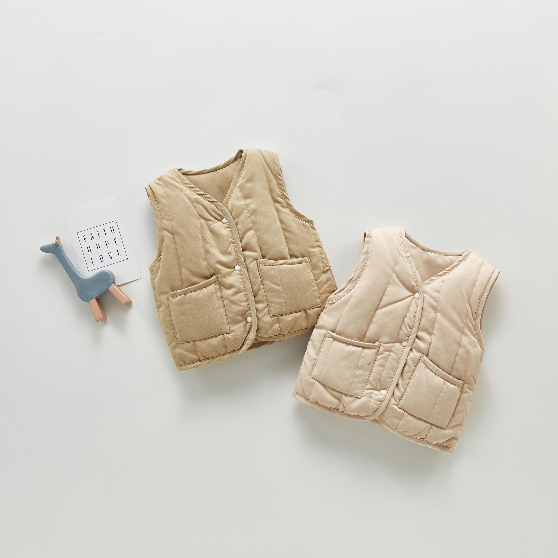 ZHBB INS Korean Baby Boys Girls Jackets Winter Sleeveless Newborn Toddler Coat