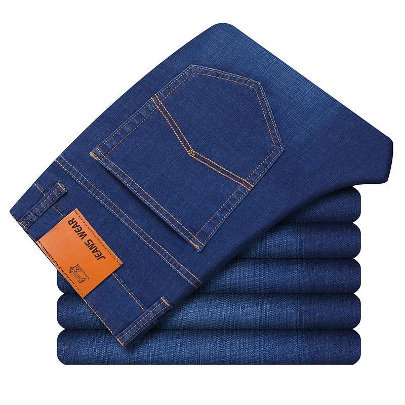 Stile classico 2021 Estate Jeans da uomo Business Casual Elasticità Slim Grigio Blu Blue Denim Pantaloni maschili Brand Pantaloni