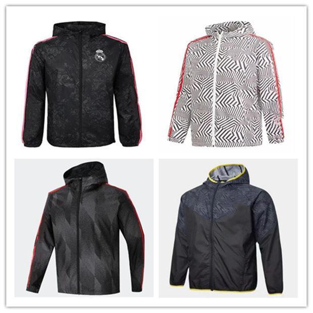 2021 Wasserdichte Fußball-Windjacken 212 22 Camisola de Futebol Kapuzen mit Kapuze Windbreaker Football Jacket Sportswear atmungsaktiv