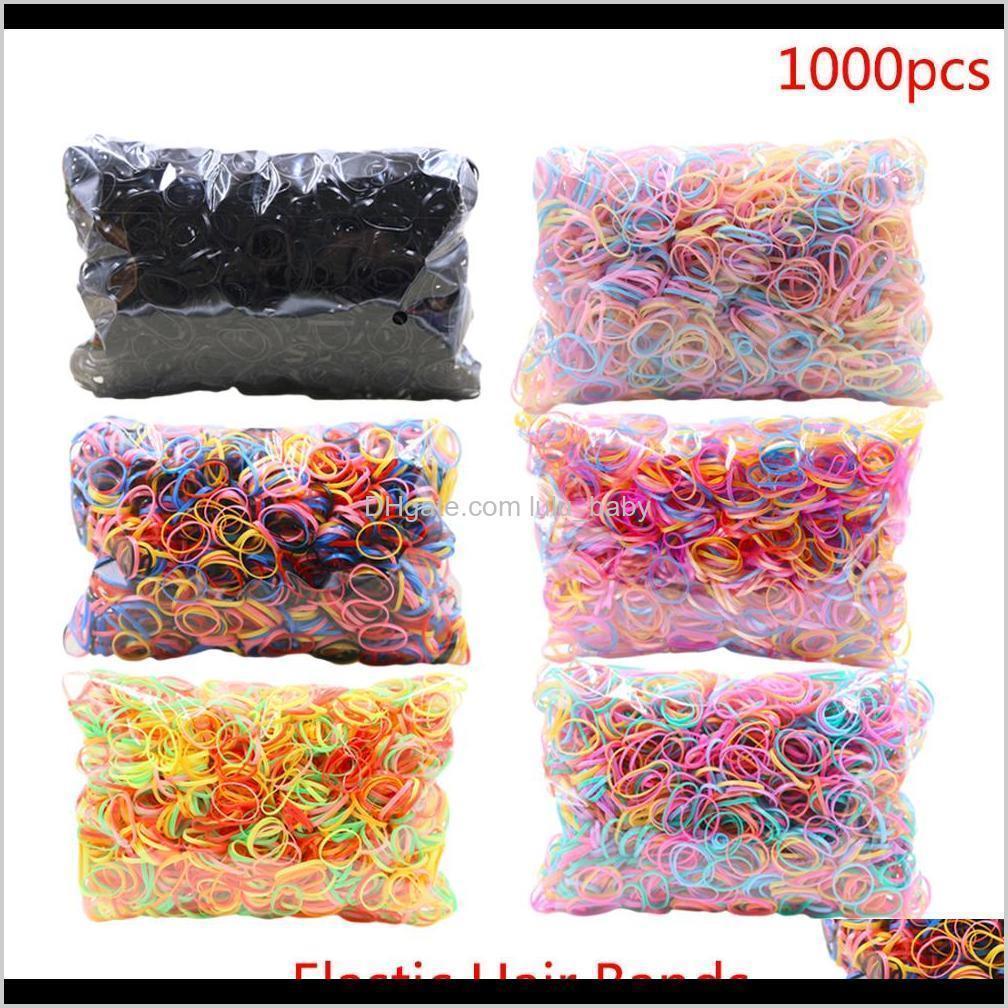 Ca. 1000 stücktasche gummi haarband seil sise ponytail elastische tpu halter tie gummi ringe mädchen haarschmuck vvpua afs0d