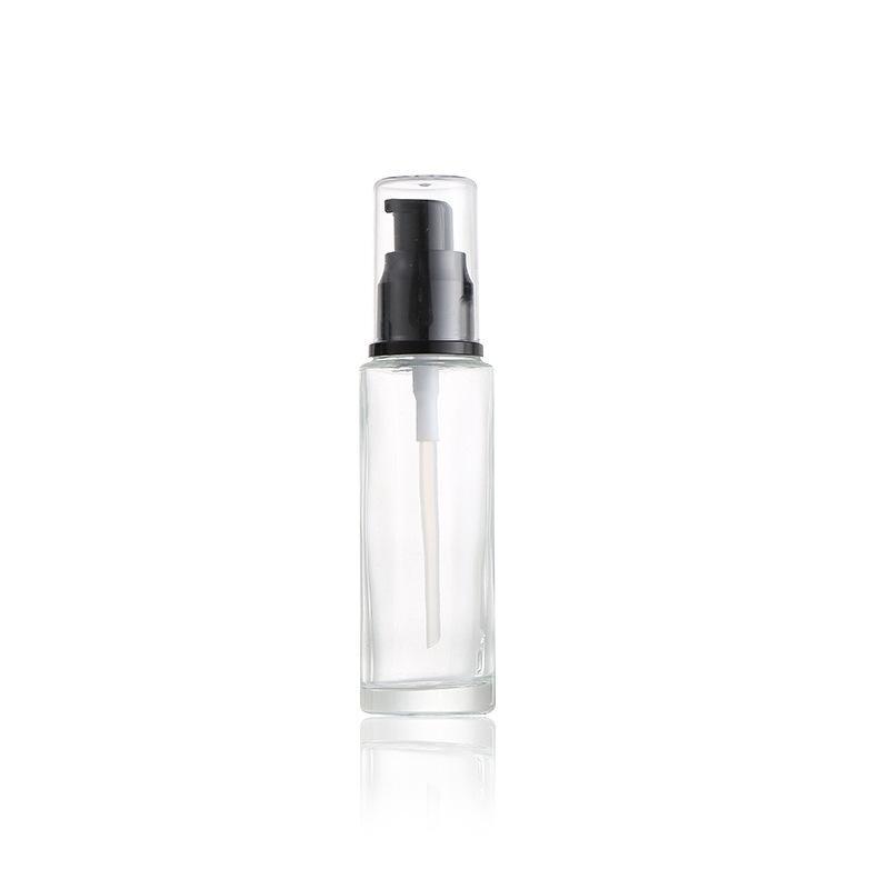 Bouteilles de pompe de lotion de verre transparente de 30 ml 1 oz avec une presse noire pompe-tête de pompe vide Conteneur d'échantillon de cosmétique pour l'émulsion visage de la crème de shampooing