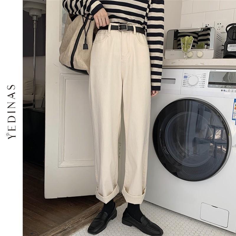 Yedinas Khaki Weibliche Frachthosen Hohe Taille Harem Lose Jeans Frauen Casual Streetwear Mom Denim Hose Lange Hose Frauen