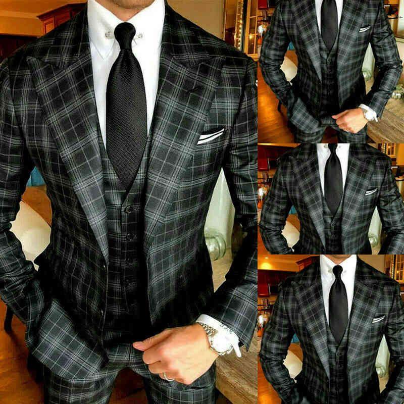 2021 Black Slim Fit 3 Stuks Plate Men Packages for Wedding Grid Prom Party Pieced Revers Smoking Tweed Wool Blind Jacket Vest + Broek