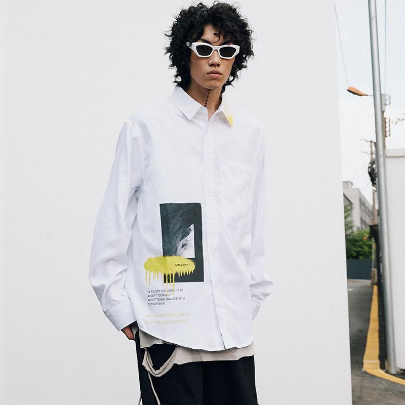 남자 2021 봄과 가을 개인화 로고 카디건 거리 힙합 BF 캐주얼 편지 긴 소매 셔츠 셔츠
