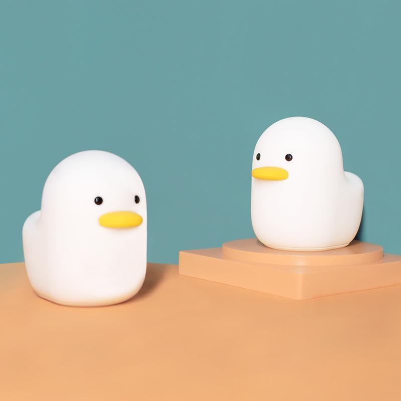 Nordic Cute Lovely Cartoon Dull Duck Night Light USB Rechargeable Touch Control Timer Setting Night Bedside Lamp Kids Baby Gift GWF6928