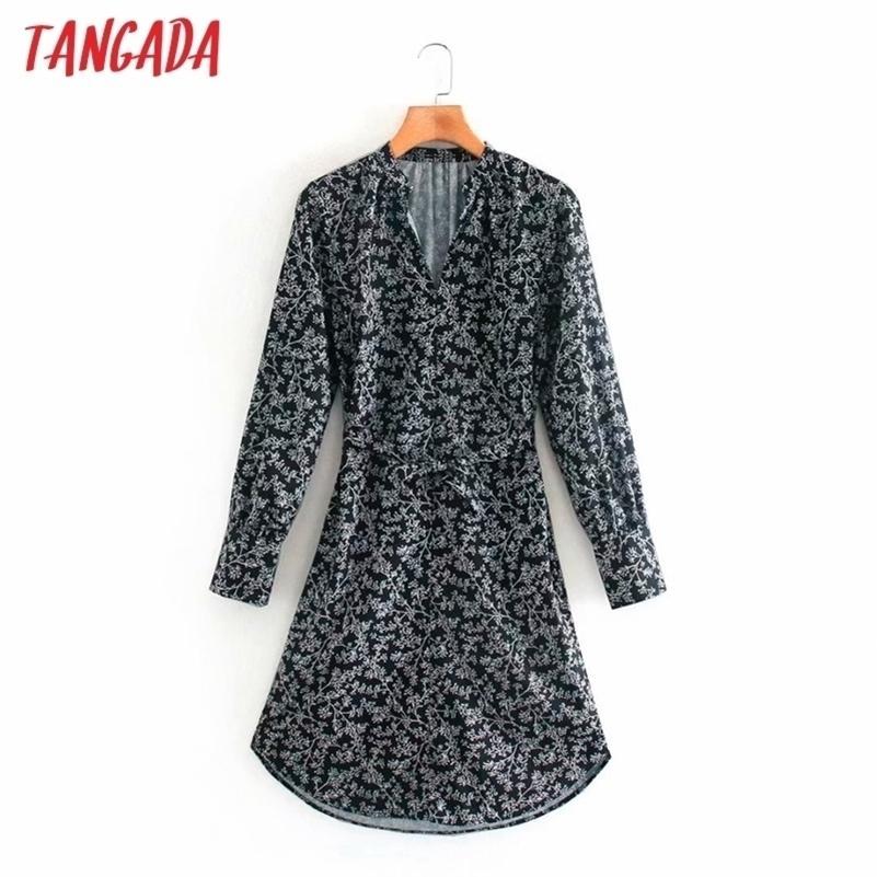 Moda Kadınlar Paisley Baskı Gömlek Elbise Slash Uzun Kollu Vintage Bayanlar Midi Elbise XN213 210417