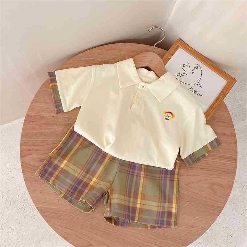 Summer Arrival Girls Fashion 2 Pieces Suit Top+shorts Girl Clothes 210528