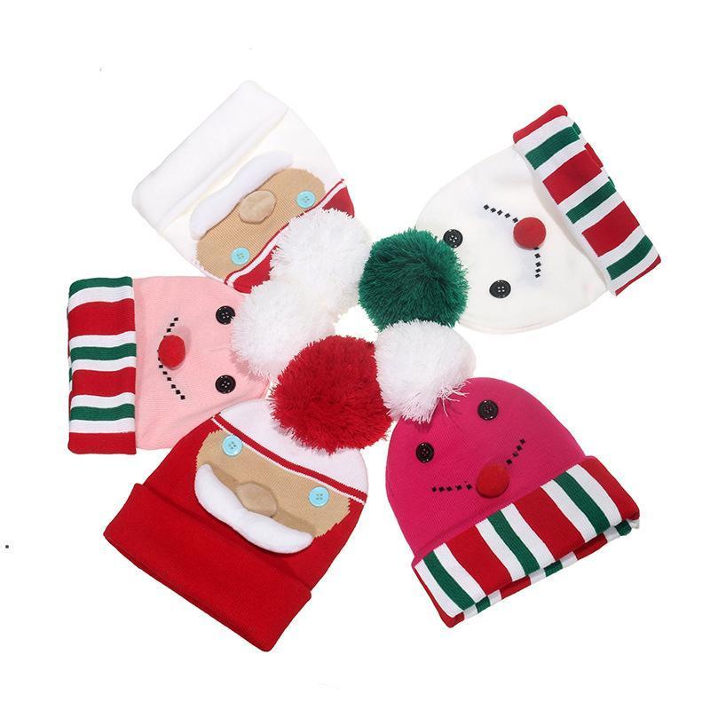 Noel Yeni Kardan Adam Elk Kelepçeli Topu Örgü Şapka Kış Erkekler Ve Kadınlar Sıcak Yün Kap Noel Hediyeleri DWD10270