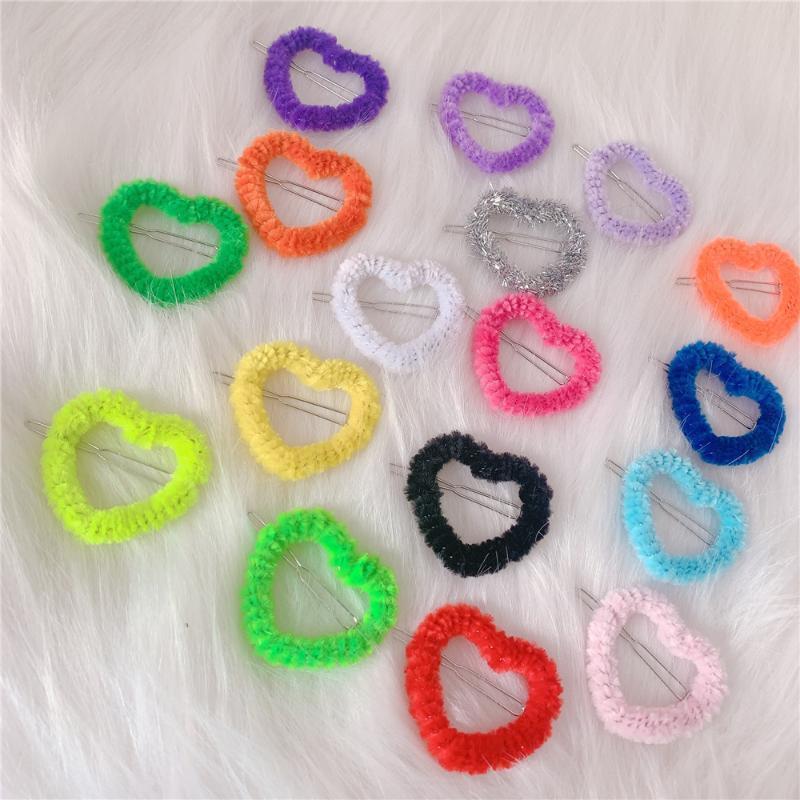 Colorido corazón de peluche ahueca hacia fuera el pelo para las mujeres niña linda harajuku accesorios vintage accesorios regalo afirmación de moda joyería barrettes