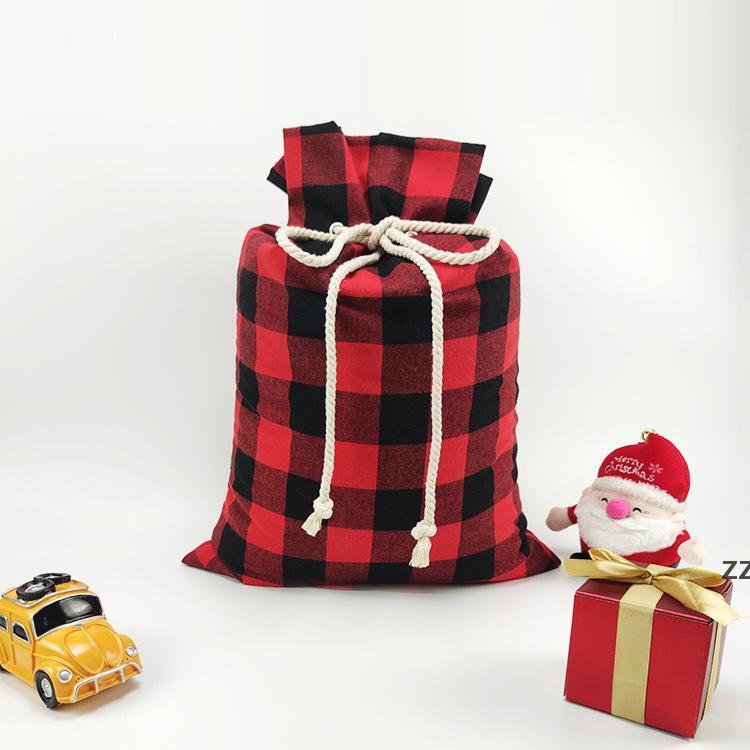 Christmas Gift Bags Xmas Red and black Plaid Drawstring Pockets Santa Sacks Festival Storage Bags 50*70cm HWD10383