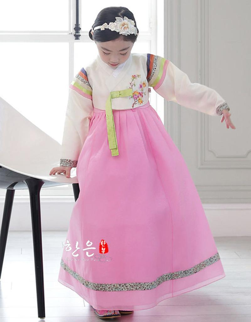 الأطفال الكورية فتاة hanbok اللباس زي العرقي الرقص التقليدية طويلة الأكمام تأثيري فساتين عارضة مصممة
