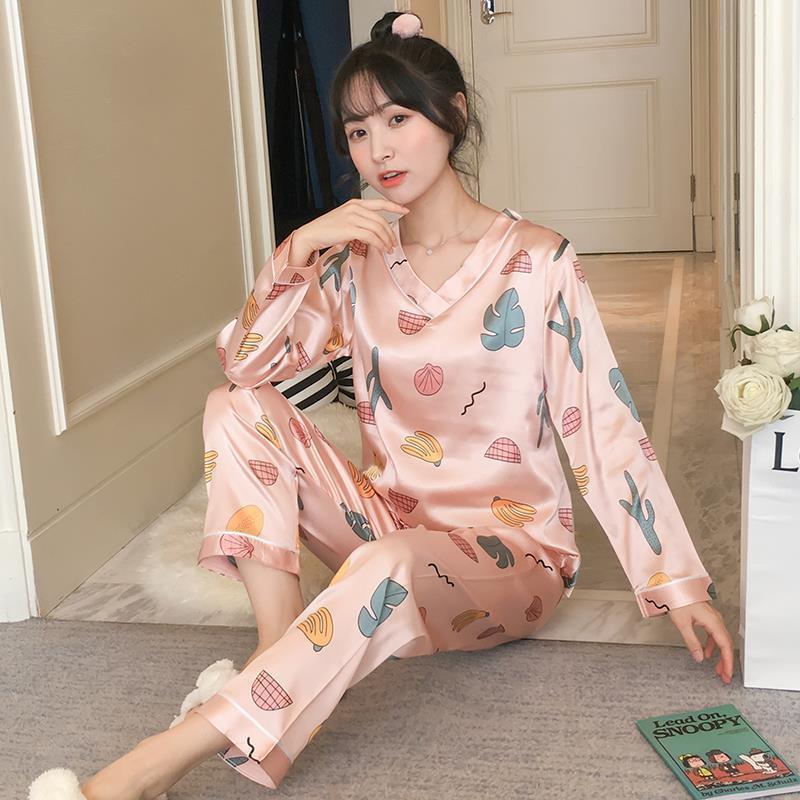 Frauen Nachtwäsche 20121 Frühling Womens Pyjamas Sets Blume Druck Mode Weibliche volle Faux Seide Zwei Teile Hemden Lange Hose Set Set