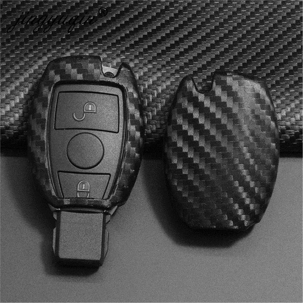 ألياف الكربون سيارة مفتاح حقيبة حالة سيارة سلسلة المفاتيح ل مرسيدس بنز بغا AMG W203 W210 W211 W2124 W202 W204 W205 W212 W176 غطاء سيليكون