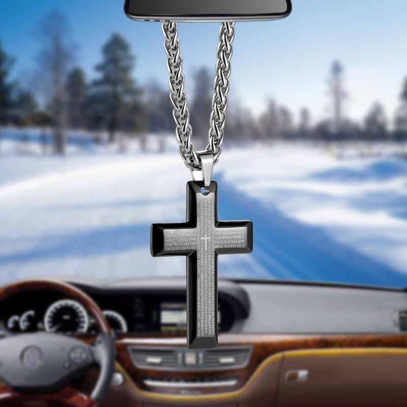 Innenausstattung Auto Anhänger Einzigartige Titan-Stahl-Bibel-Kreuz-Automobil-Rückspiegel Hängen Baumeln Verzierung Dekoration Zubehör