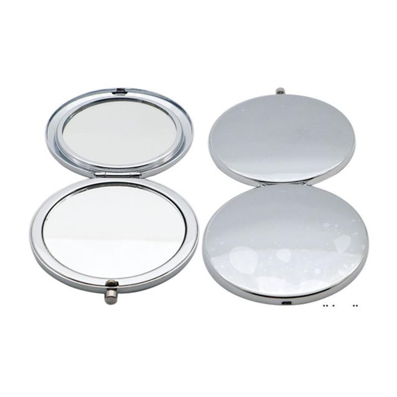 70MM Simple Metal Makeup Mirror Travel Portable Double Sided Folding Mirrors Creative Christmas Gift FWF10179
