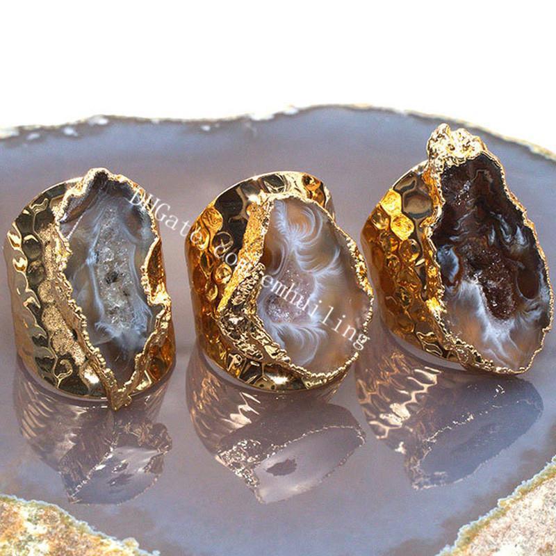 Fetta naturale agata druzy rocce handmade anello gioielli regolabile oro placcato oro freeform guarigione geode brasiliano Geode Drusy al quarzo cristallo anelli di pietra preziosa anelli personalità