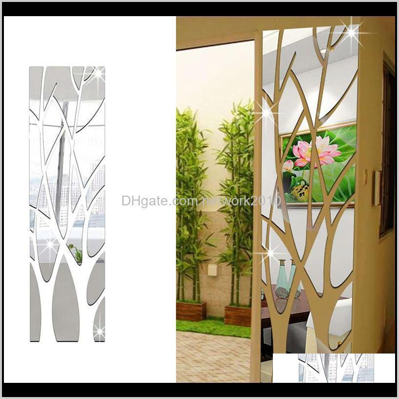 3d مرآة ملصقات الحائط شجرة شكل ذاتية اللصق للإزالة الاكريليك متعدد الألوان صائق diy غرفة المعيشة المنزل غرفة نوم التلفزيون خلفية ديكور BSW30
