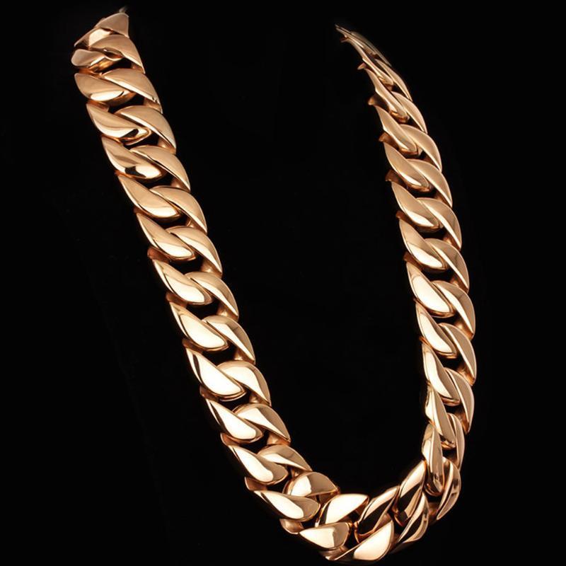 الهيب هوب رجالي القلائد 31 ملليمتر واسعة الكوبي سلسلة قلادة الرجال الفاخرة لامعة الثقيلة 980 جرام 316l الفولاذ المقاوم للصدأ الذكور مجوهرات السلاسل