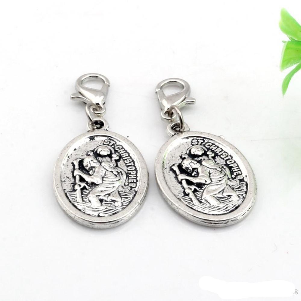 120 pcs liga St Christopher flutuante fechos de lagosta encantos pingentes para jóias fazendo pulseira colar diy acessórios 16.5x 40mm