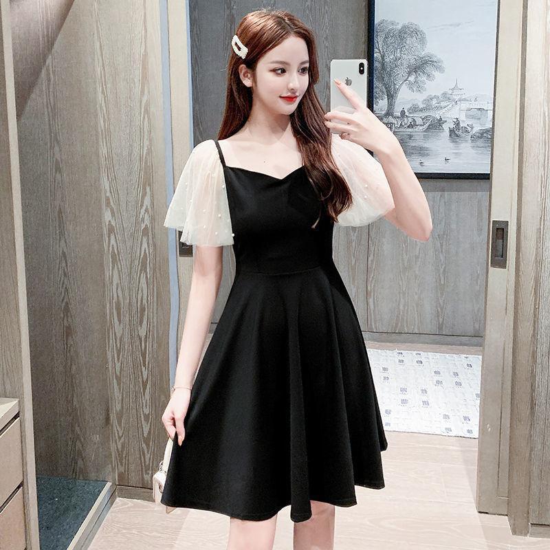 Vestidos casuais mulheres malha costuradas cintura em v na cintura preto saia preta vestido de mujer femme roupão