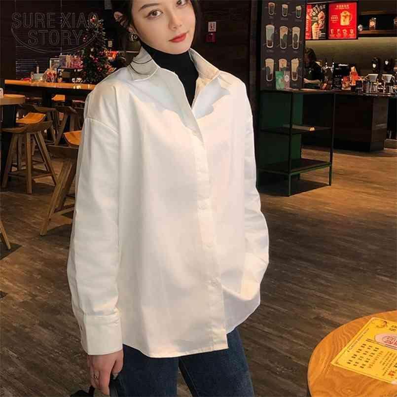 قميص أبيض طويل الأكمام الخريف الصيف أزياء عارضة قمصان فضفاضة زائد حجم الإناث الشارع الشهير بلوزة القمم الكورية 11187 210506