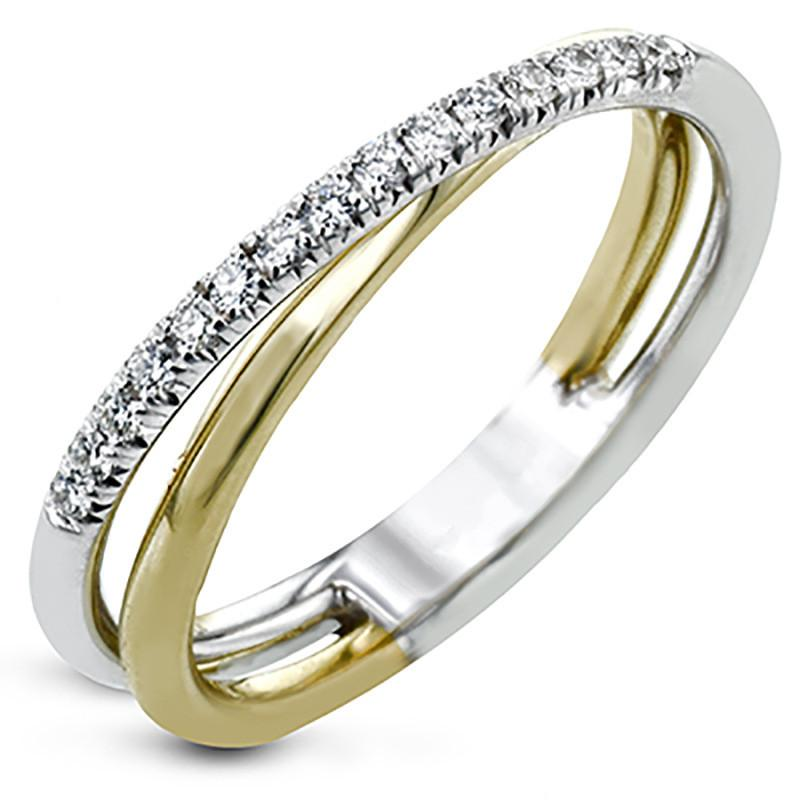 Fashion Two-tone Cross Finger Ring for Women Simple Stylish Wedding Rings CZ Zircon Stone Gold/Silver Color Jewelry